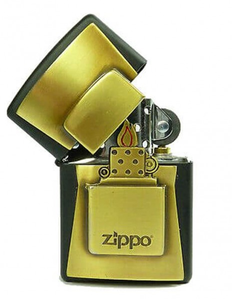 Original Zippo Lighter Black Matte Golden Amblem 2004677