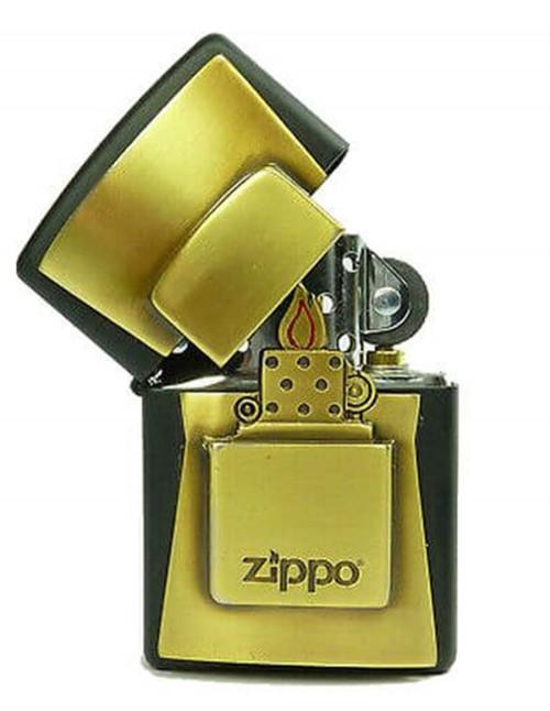 Original Zippo Lighter Black Matte Golden Amblem 2004677