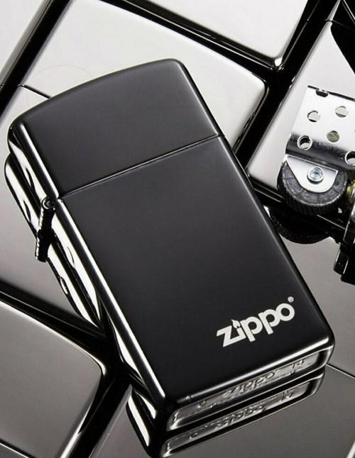 Original Zippo Upaljač Slim Black Ice Zippo Logo 28123ZL