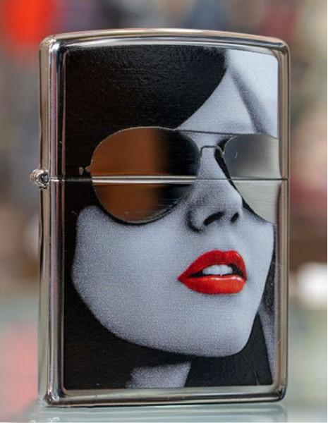 Original Zippo Lighter High Polish Chrome Gold Design Sunglasses 28274