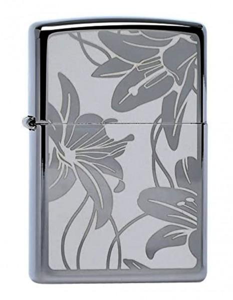 Original Zippo Lighter Black Ice Lily 29426