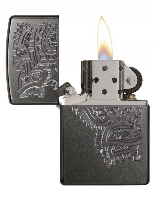 Original Zippo Lighter Gray Dusk Iced Paisley 29431