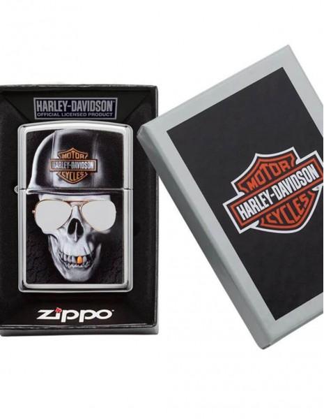 Original Zippo Lighter High Polish Chrome Harley-Davidson® Skull Sunglasses 29739