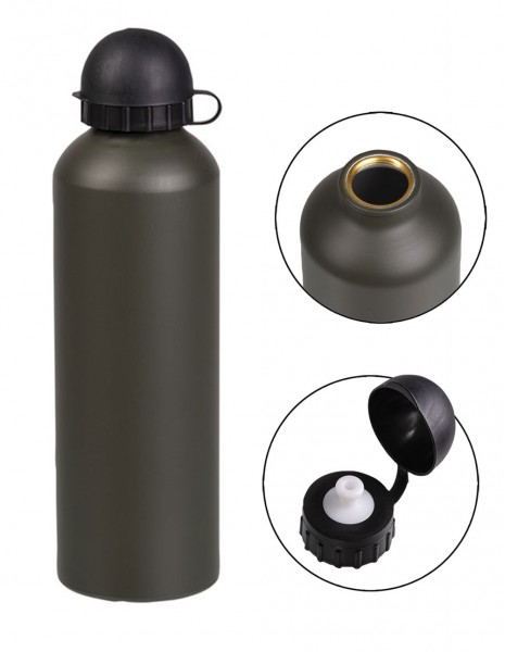 Miltec Aluminium Hiking Army Outdoor Light Water Bottle 0.75L Olive 14535020