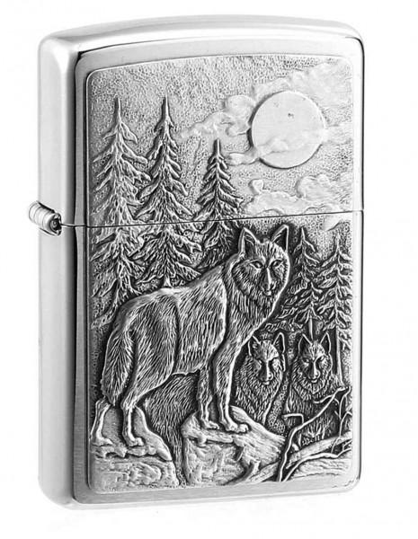 Original Zippo Lighter Timberwolves Brushed Chrome  20855