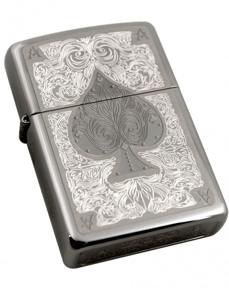 Original Zippo Lighter Black Ice Filigree Ace Of Spade 28323