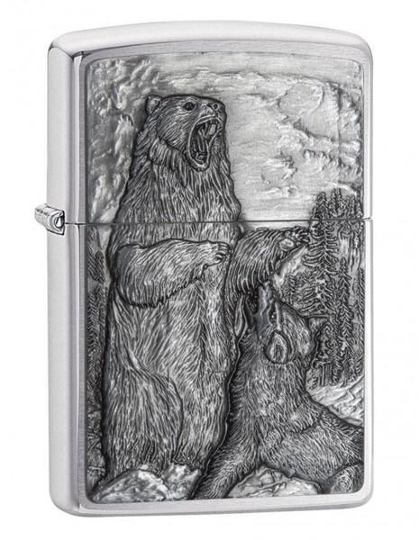 Zippo Lighter Bear vs. Wolf Brushed Chrome 29636