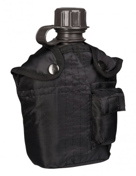 Miltec US Canteen With Cover Black 14505002