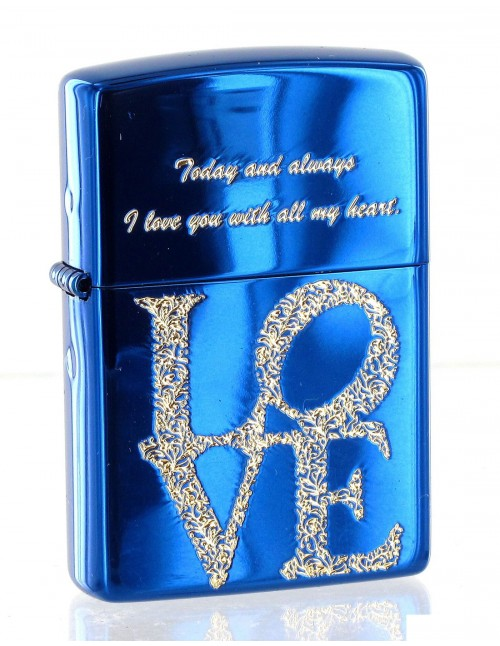 Original Zippo Lighter Love Blue Ice Asian Collection ZA-3-37C