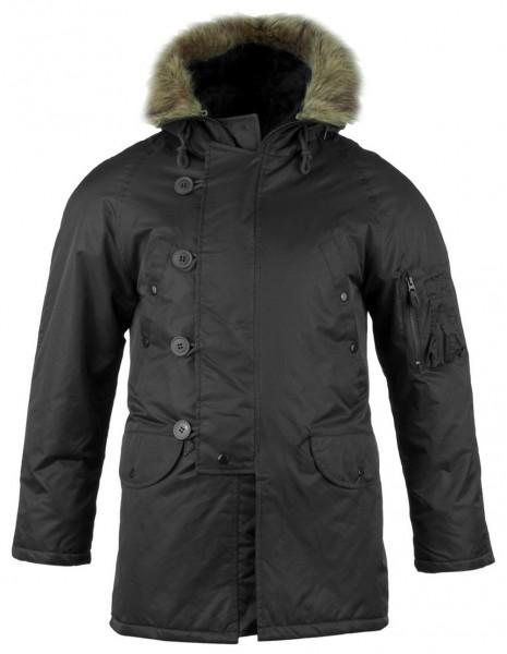 Miltec 10181002 Flight Jacket N3B / Waterproof Parka Black