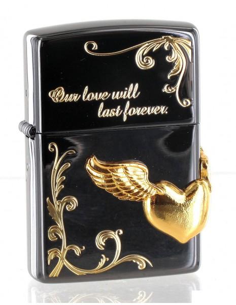 Original Zippo Lighter Gold Wing Heart Asian Collection ZA-2-40C