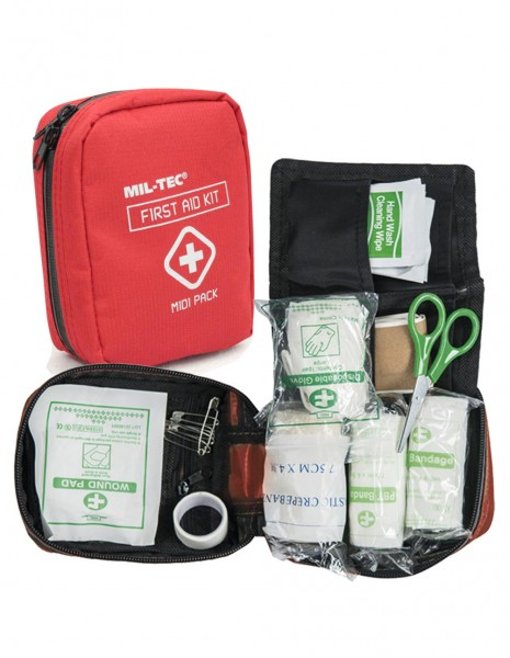 Miltec 16025910 Midi Army Military Hiking Hunting Camping First Aid Kit Red