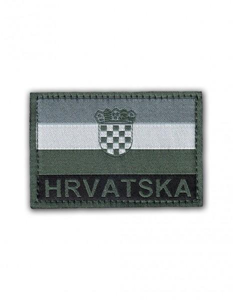 Military Army Patch Hrvatska Flag Velcro Dark Gray