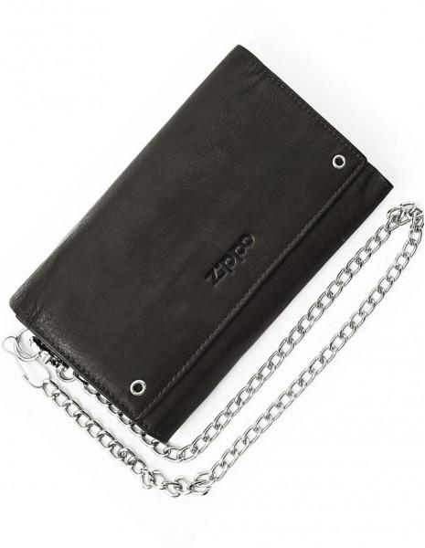2005129 Zippo Leather Biker Wallet Black