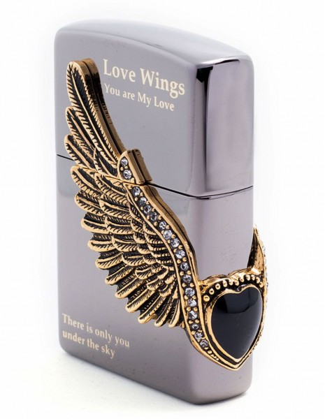 Zippo Lighter Love Wings Black Ice Asian Collection ZA-2-18B