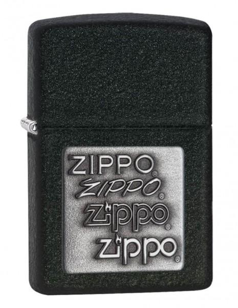 Zippo 363 Original Zippo Lighter Black Crackle Silver Zippo Logo