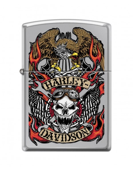 Zippo Lighter High Polish Harley-Davidson® Skull Design