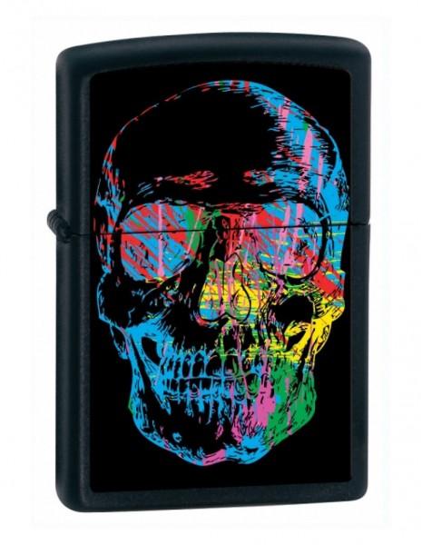 Zippo 28042 Original Zippo Lighter Black Matte Rainbow Skull