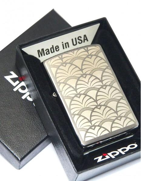 Zippo 49207 Original Zippo Lighter Brushed Chrome Art Deco Laser Engraved