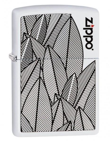 Zippo 49214 Original Zippo Lighter White Matte Leaves Gardening Design