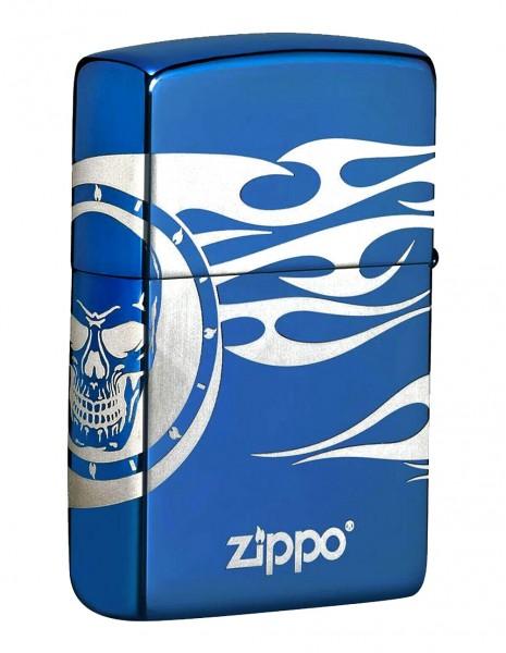 Zippo 49098 Zippo Premium Lighter Tatto High Polish Blue Photo Image 360°