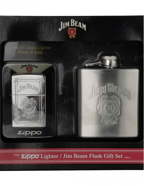 Zippo 28414 Zippo Gift Set Jim Beamm Lighter And Hip Flask
