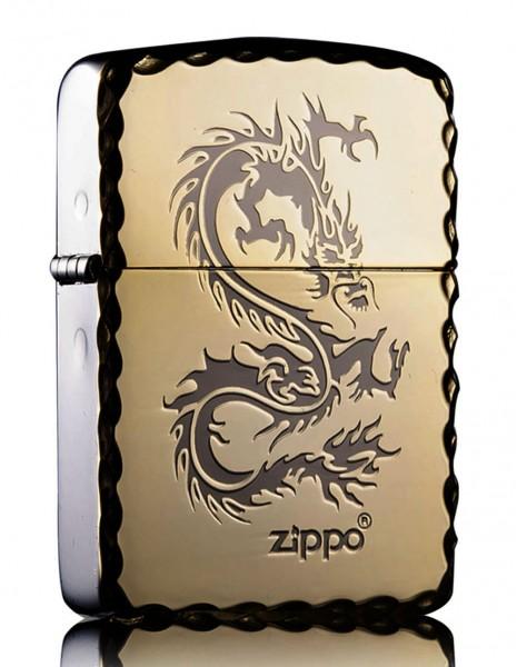 Original Zippo Lighter Replica 1941 High Polish Gold Dragon
