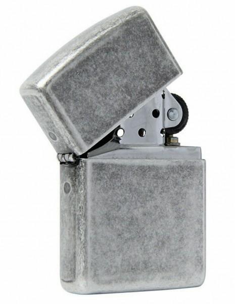 Zippo 28973 Original Zippo Lighter Antique Siver Plate Armor