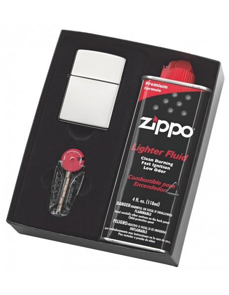 Zippo Gift Set Classic Brushed Chrome