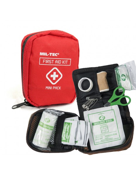 Miltec 16025810 Mini Army Military Hiking Hunting Camping First Aid Kit Red