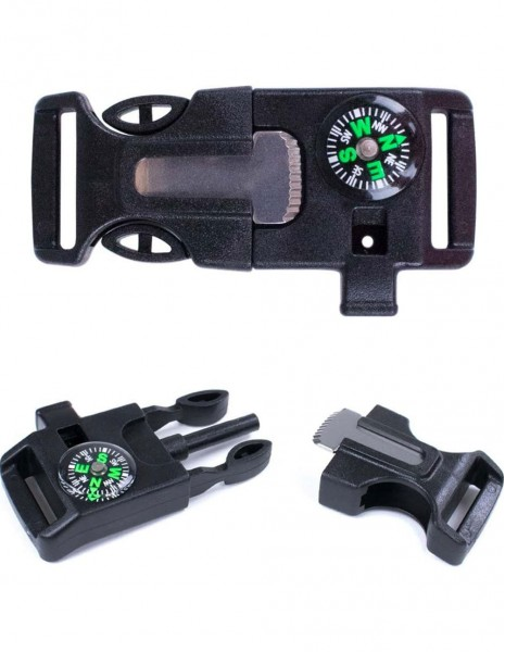 Survival Buckle 4-in-1 / Compass / Fire Initiator / Whistle