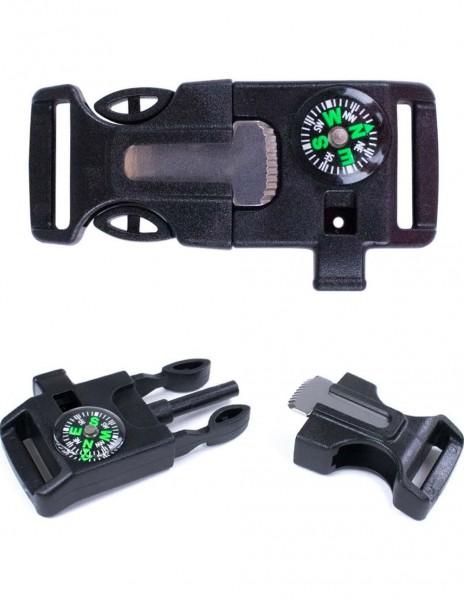 Survival Kopča 4-u-1 / Kompas / Iniciator Vatre / Zviždaljka Black