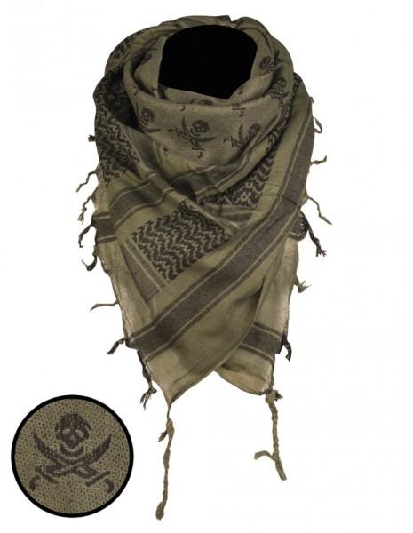 Miltec 12609101 Original Shemagh Pustinjska Vojna Marama Skull Olive Black