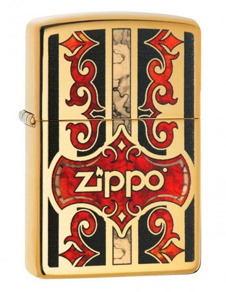 Zippo 29510 Original Zippo Lighter High Polish Brass Fusion Logo Swanky