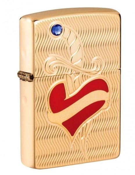 Zippo 49303 Original Zippo Lighter High Polish Brass Armor® Heart and Sword Design