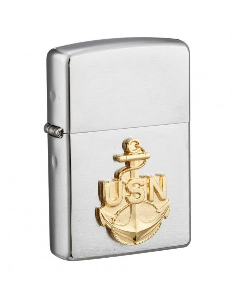 Zippo 280ANC Original Zippo Lighter United States Navy  Brushed Chrome