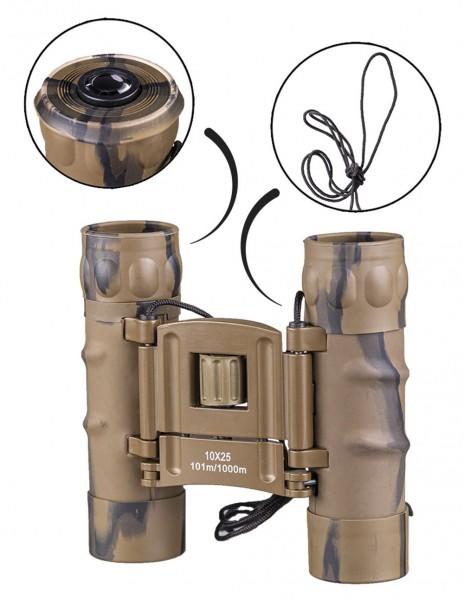 Miltec 15702160 Generation 2.0 Collapsible Binocular 10x25 Desert Camo