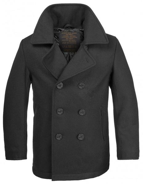 Miltec 10580000 Woolen Coat US Navy Pea Coat Black Anchor