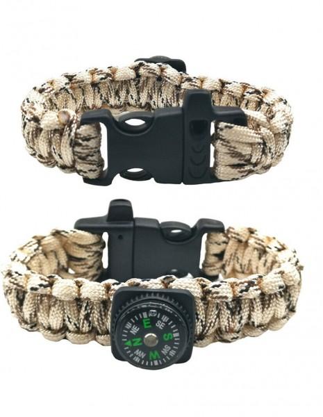 Paracord Survival Bracelet Compass Whistle 3CD 22cm