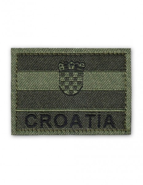 Military Army Patch Croatia Flag Velcro Subdued Olive