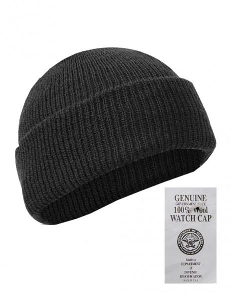 US Army Winter Hiking Hunting Cap 100% Wool Black Discount 12140002