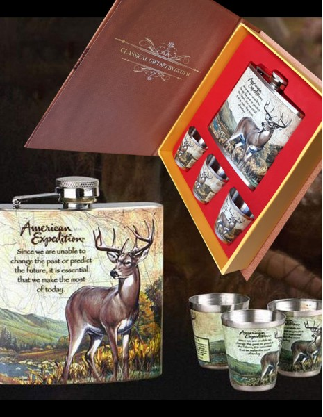 Flask Gift Set American Expedition Whitetail Deer