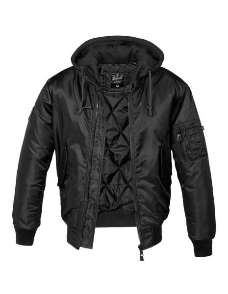 Brandit 3150-2 Flight Jacket MA1 Hooded Black / Black