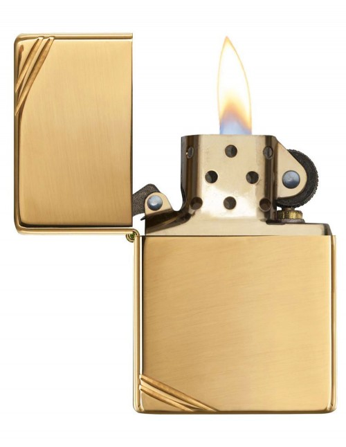 Original Zippo Lighter High Polish Brass Vintage with Slashes 270