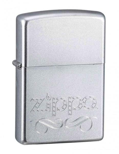 Zippo 24335 Original Zippo Lighter Satin Chrome Zippo Scroll